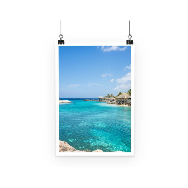 Blue Water Lake With Huts Poster A3 Wall Decor