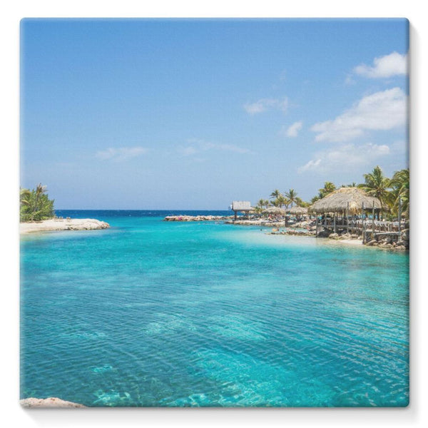 Blue Water Lake With Huts Stretched Canvas 10X10 Wall Decor