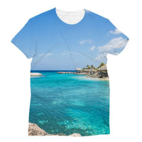 Blue Water Lake With Huts Sublimation T-Shirt S Apparel