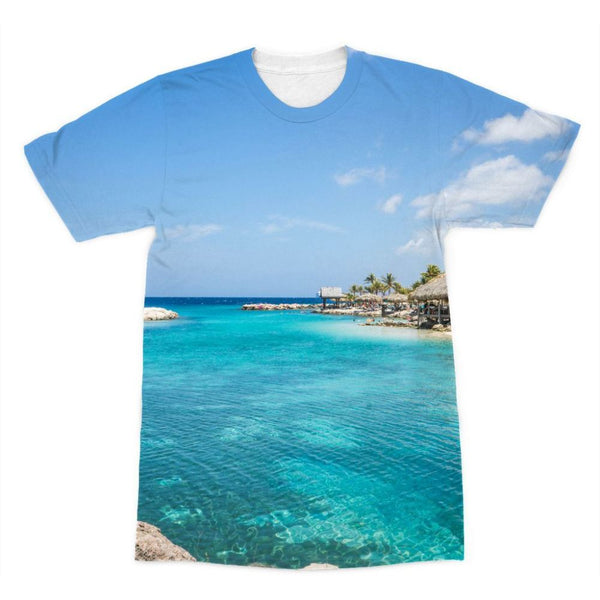 Blue Water Lake With Huts Sublimation T-Shirt Xs Apparel