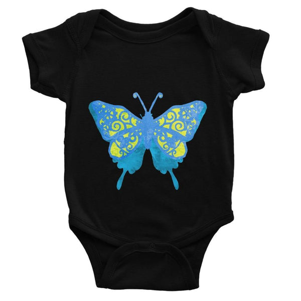 Blue Yellow Butterfly Baby Bodysuit 0-3 Months / Black Apparel