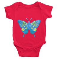 Blue Yellow Butterfly Baby Bodysuit 0-3 Months / Red Apparel
