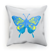 Blue Yellow Butterfly Cushion Faux Suede / 18X18 Homeware