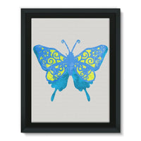 Blue Yellow Butterfly Framed Canvas 12X16 Wall Decor