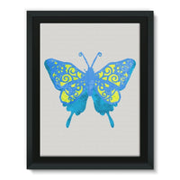 Blue Yellow Butterfly Framed Canvas 18X24 Wall Decor