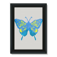 Blue Yellow Butterfly Framed Canvas 20X30 Wall Decor