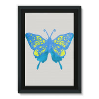 Blue Yellow Butterfly Framed Canvas 24X36 Wall Decor