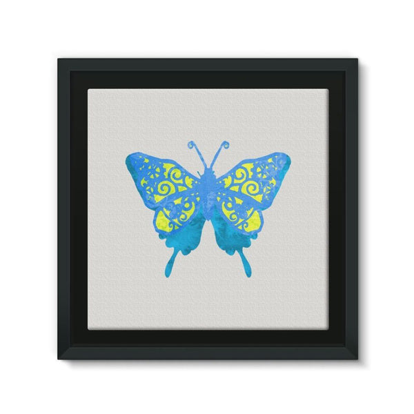 Blue Yellow Butterfly Framed Eco-Canvas 10X10 Wall Decor