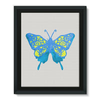 Blue Yellow Butterfly Framed Eco-Canvas 11X14 Wall Decor