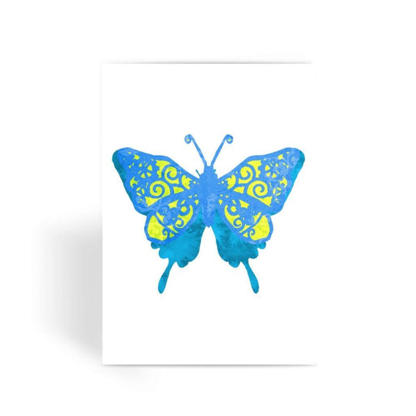 Blue Yellow Butterfly Greeting Card 1 Prints