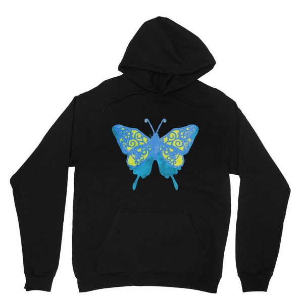 Blue Yellow Butterfly Heavy Blend Hooded Sweatshirt Xs / Black Apparel