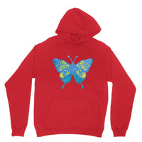 Blue Yellow Butterfly Heavy Blend Hooded Sweatshirt Xs / Red Apparel