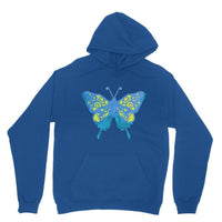 Blue Yellow Butterfly Heavy Blend Hooded Sweatshirt Xs / Royal Apparel