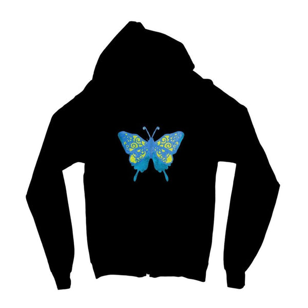 Blue Yellow Butterfly Kids Zip Hoodie 3-4 Years / Jet Black Apparel