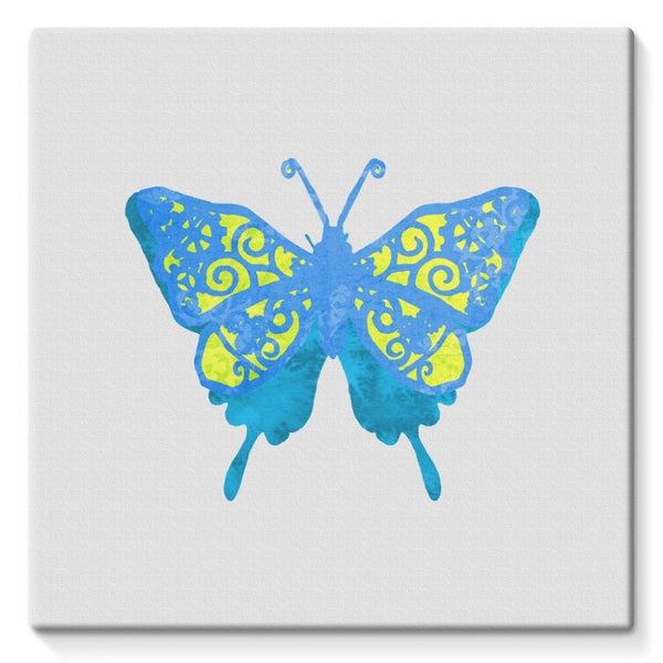 Blue Yellow Butterfly Stretched Eco-Canvas 10X10 Wall Decor