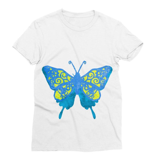 Blue Yellow Butterfly Sublimation T-Shirt Xs Apparel