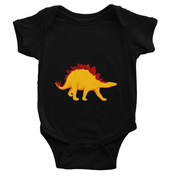 Bright Orange Dinosaur Baby Bodysuit 0-3 Months / Black Apparel