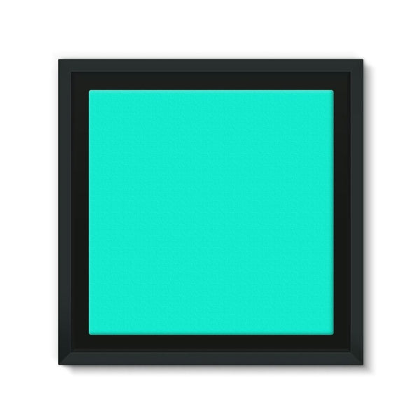 Bright Turquoise Color Framed Canvas 12X12 Wall Decor