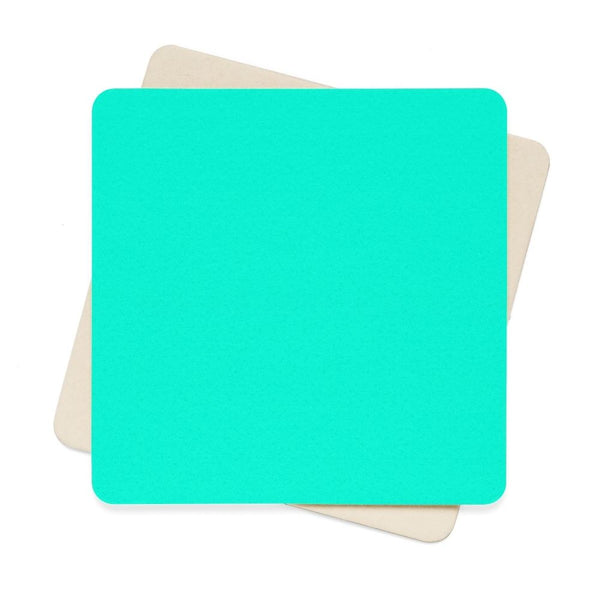 Bright Turquoise Color Square Paper Coaster Set - 6Pcs 4 X In Home Decor