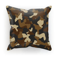 Brown Army Camo Pattern Cushion Faux Suede / 18X18 Homeware