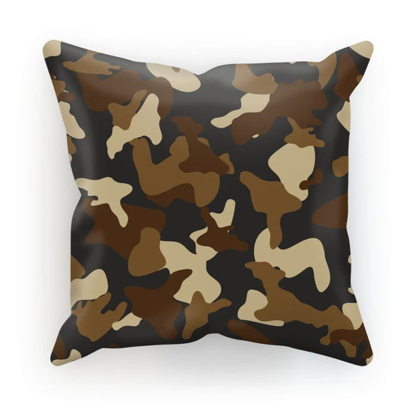 Brown Army Camo Pattern Cushion Linen / 12X12 Homeware