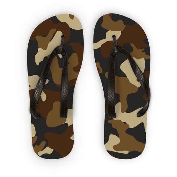 Brown Army Camo Pattern Flip Flops S Accessories