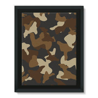 Brown Army Camo Pattern Framed Canvas 12X16 Wall Decor