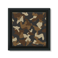 Brown Army Camo Pattern Framed Canvas 14X14 Wall Decor