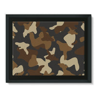 Brown Army Camo Pattern Framed Canvas 16X12 Wall Decor