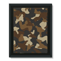 Brown Army Camo Pattern Framed Canvas 18X24 Wall Decor