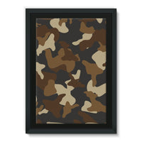 Brown Army Camo Pattern Framed Canvas 24X36 Wall Decor