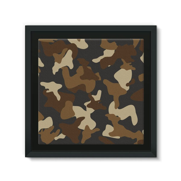 Brown Army Camo Pattern Framed Eco-Canvas 10X10 Wall Decor