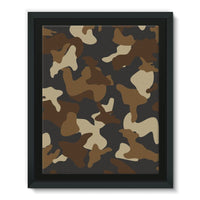 Brown Army Camo Pattern Framed Eco-Canvas 11X14 Wall Decor