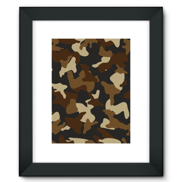 Brown Army Camo Pattern Framed Fine Art Print 12X16 / Black Wall Decor