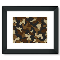 Brown Army Camo Pattern Framed Fine Art Print 16X12 / Black Wall Decor