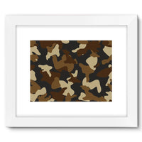 Brown Army Camo Pattern Framed Fine Art Print 16X12 / White Wall Decor