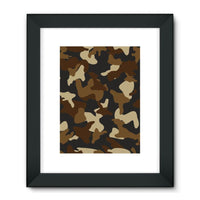 Brown Army Camo Pattern Framed Fine Art Print 18X24 / Black Wall Decor
