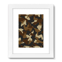 Brown Army Camo Pattern Framed Fine Art Print 18X24 / White Wall Decor