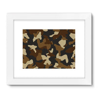 Brown Army Camo Pattern Framed Fine Art Print 24X18 / White Wall Decor