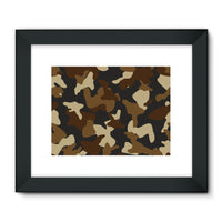 Brown Army Camo Pattern Framed Fine Art Print 32X24 / Black Wall Decor