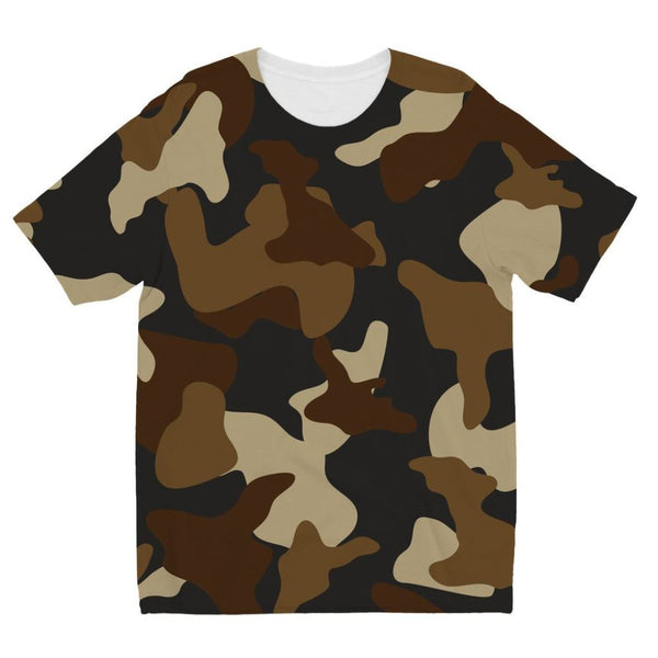 Brown Army Camo Pattern Kids Sublimation T-Shirt 3-4 Years Apparel