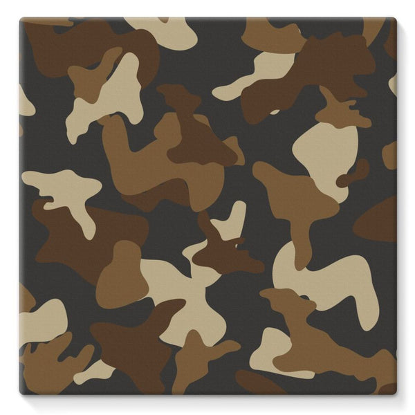 Brown Army Camo Pattern Stretched Eco-Canvas 10X10 Wall Decor