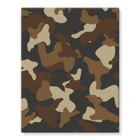 Brown Army Camo Pattern Stretched Eco-Canvas 11X14 Wall Decor
