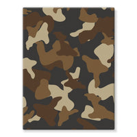 Brown Army Camo Pattern Stretched Eco-Canvas 18X24 Wall Decor