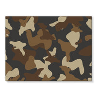 Brown Army Camo Pattern Stretched Eco-Canvas 24X18 Wall Decor