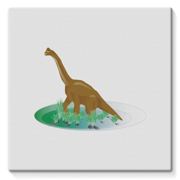 Brown Brontosaurio Dinosaur Stretched Canvas 10X10 Wall Decor