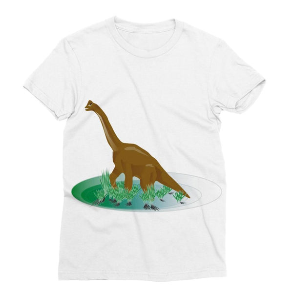 Brown Brontosaurio Dinosaur Sublimation T-Shirt S Apparel