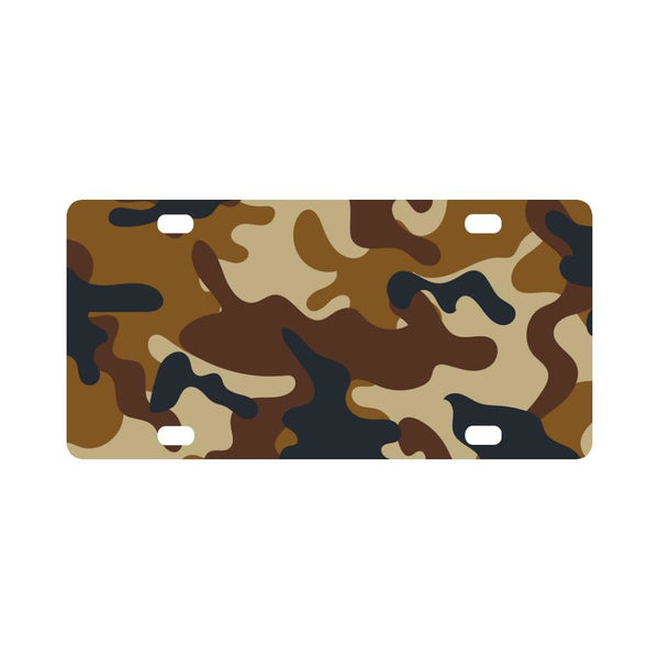 Brown Camo Camouflage Army Pattern Classic License Plate
