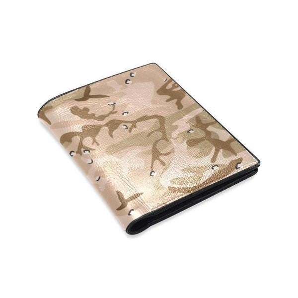 Brown Desert Camo Camouflage Army Pattern Mens Leather Wallet (1612)