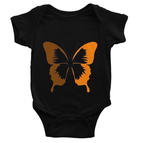 Brown Orange Butterfly Baby Bodysuit 0-3 Months / Black Apparel